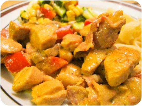 Kyckling med curry och bacon