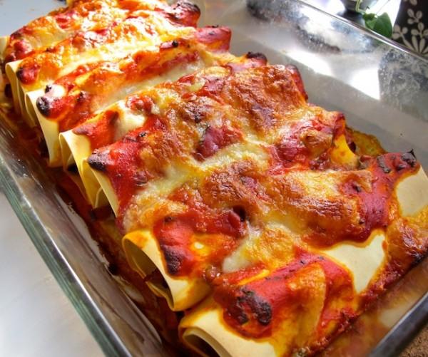Cannelloni med skinka och mozzarella