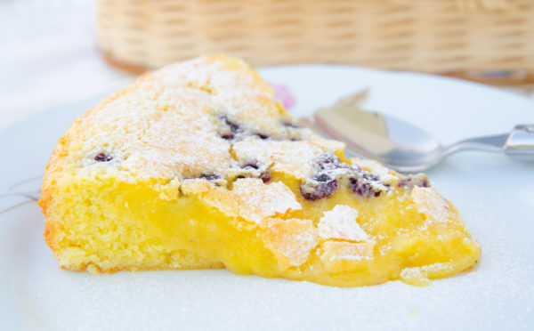 Citronkladdkaka med blåbär
