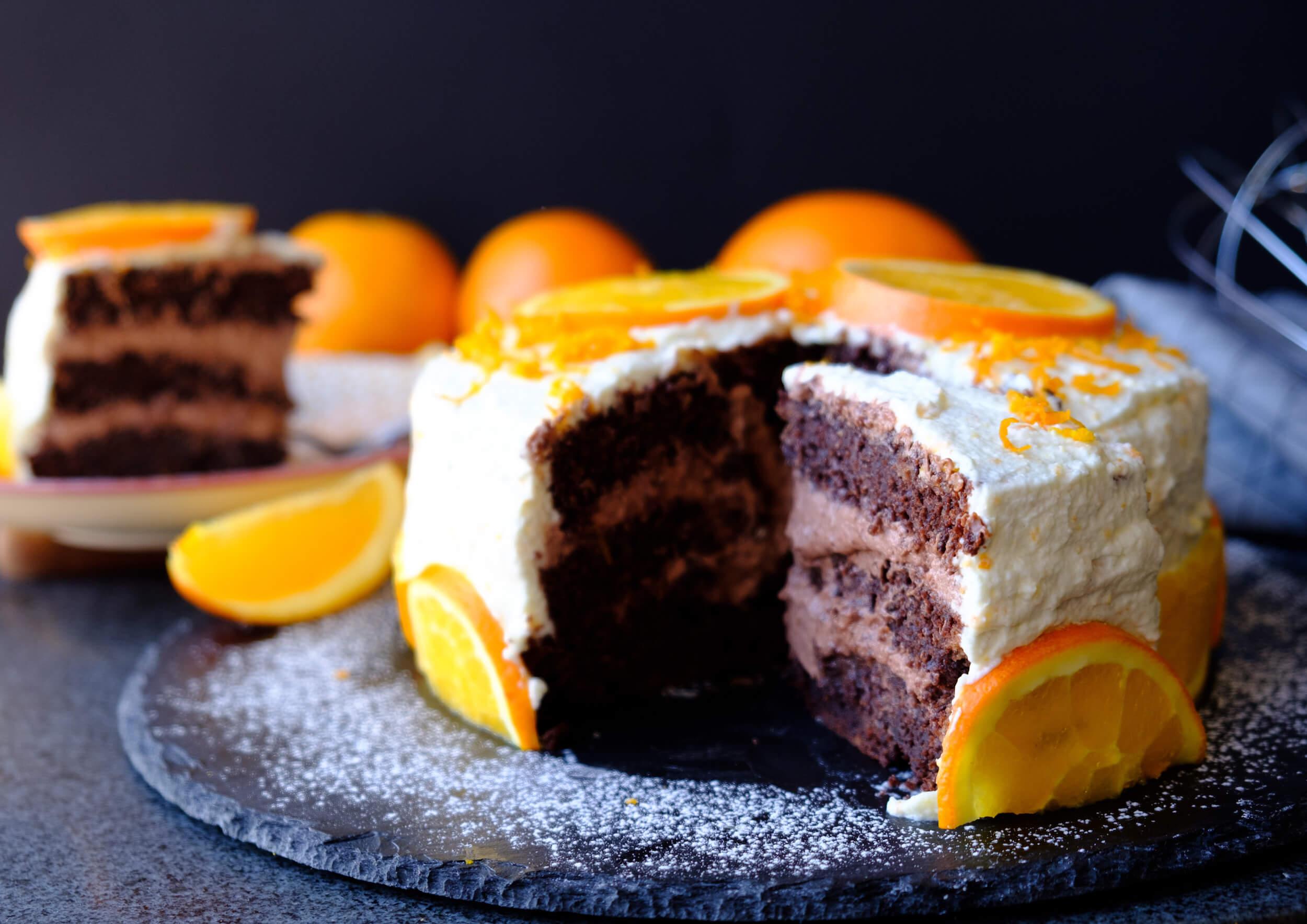 Chokladtårta med apelsingrädde