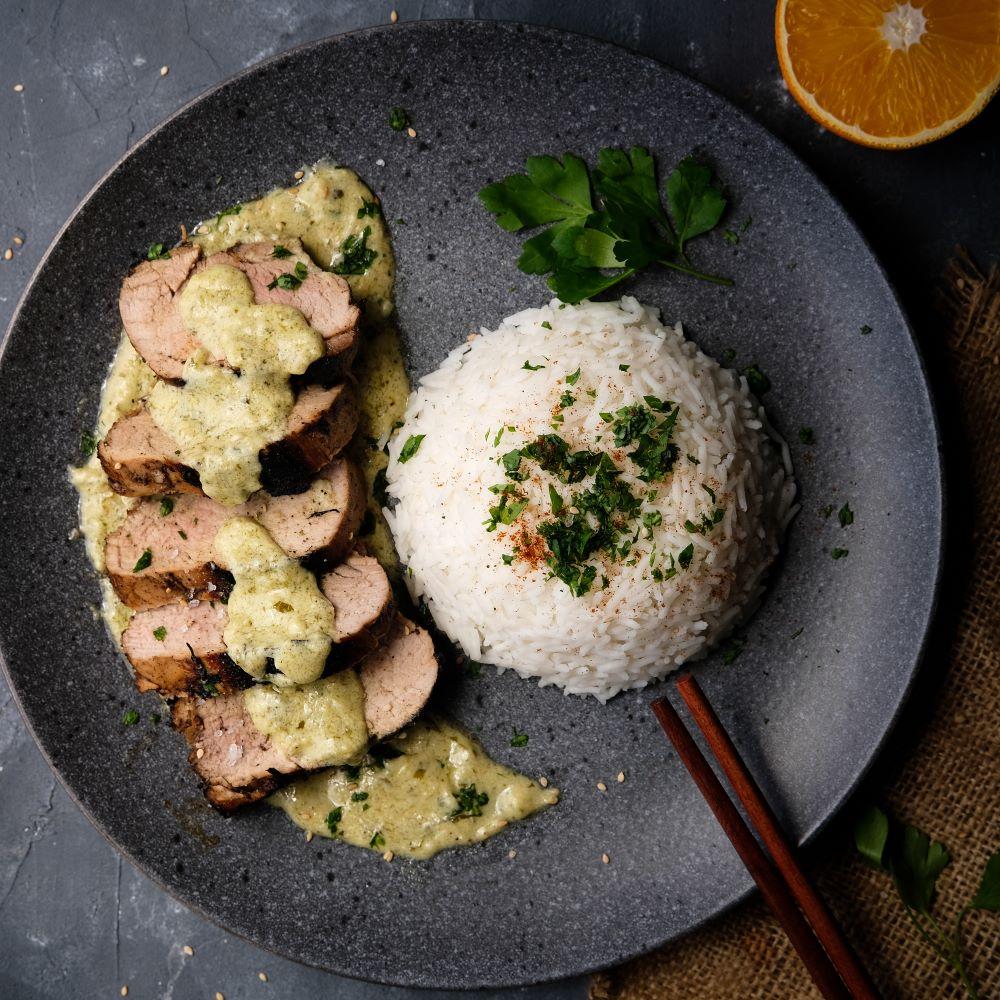Grön Curry med Grillad fläskfilé